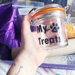 Cat treats glass container