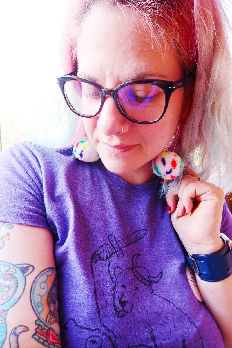 neon-polkadot-pompom-earrings